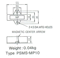 Dimensions  in mm of PSMS-MP10